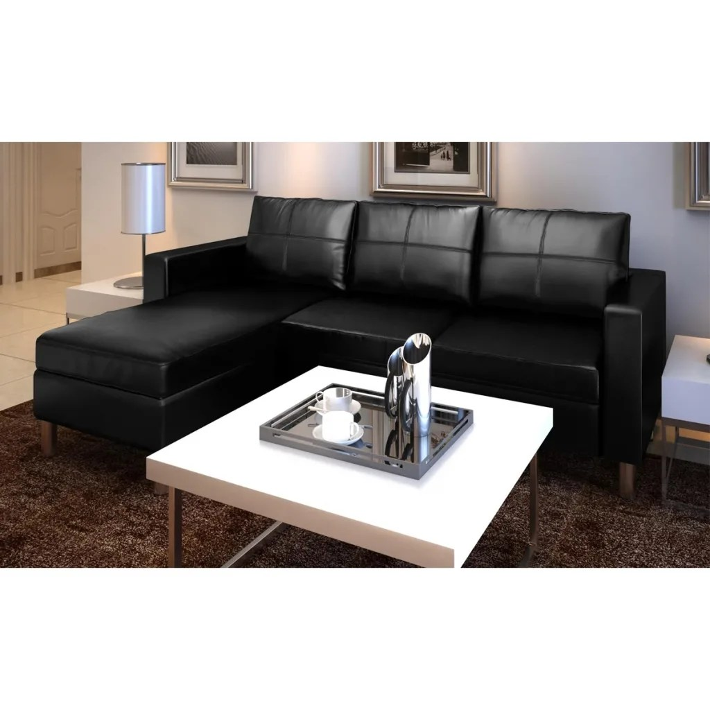 3Seater Lshaped Artificial Leather Sectional Sofa Black  vidaXLcom