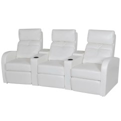 White Leather Sectional Sofa With Recliner Paddington Au Artificial Home Cinema Reclining 3