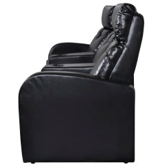 Valencia Black Recliner Leather Sofa Best Artificial Home Cinema Reclining 3