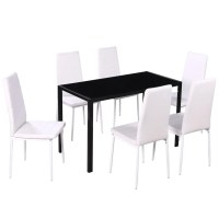 Dining Set 6 White Chairs + 1 Table Contemporary Design ...
