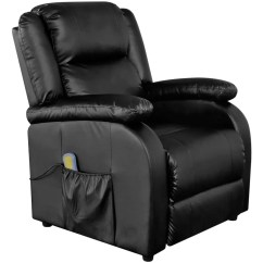 Electric Reclining Chair Swivel Northern Ireland Massage Recliner Artificial Leather Black