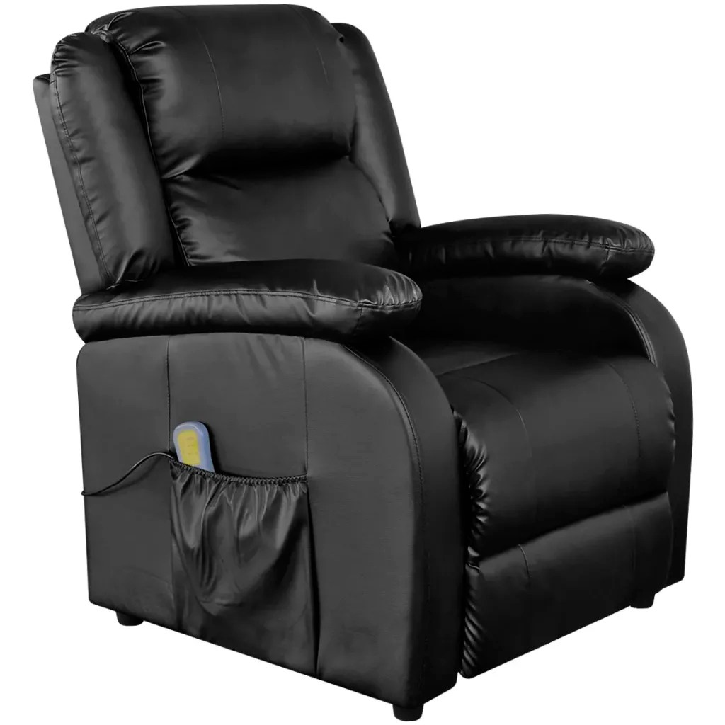 Electric Reclining Chair Electric Massage Recliner Chair Artificial Leather Black
