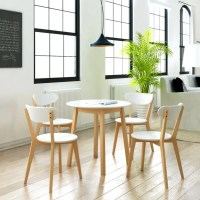 Small Round Table and 4 Chairs Birch Wood Bistro Coffee ...