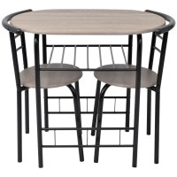 Breakfast Bar Table and 2 Chairs Stools Set Dining Room