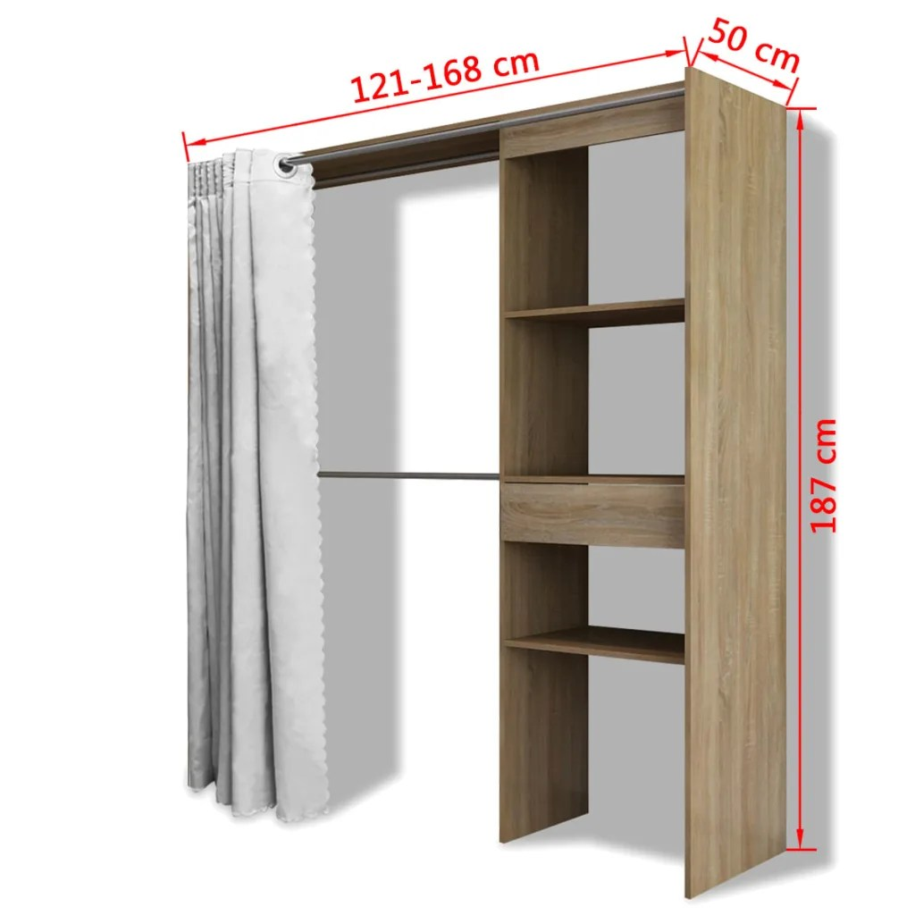 vidaXLcouk  vidaXL Cloth Cabinet with Curtain