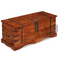Brown Solid Wood Storage Chest Trunk Box Antique Style ...