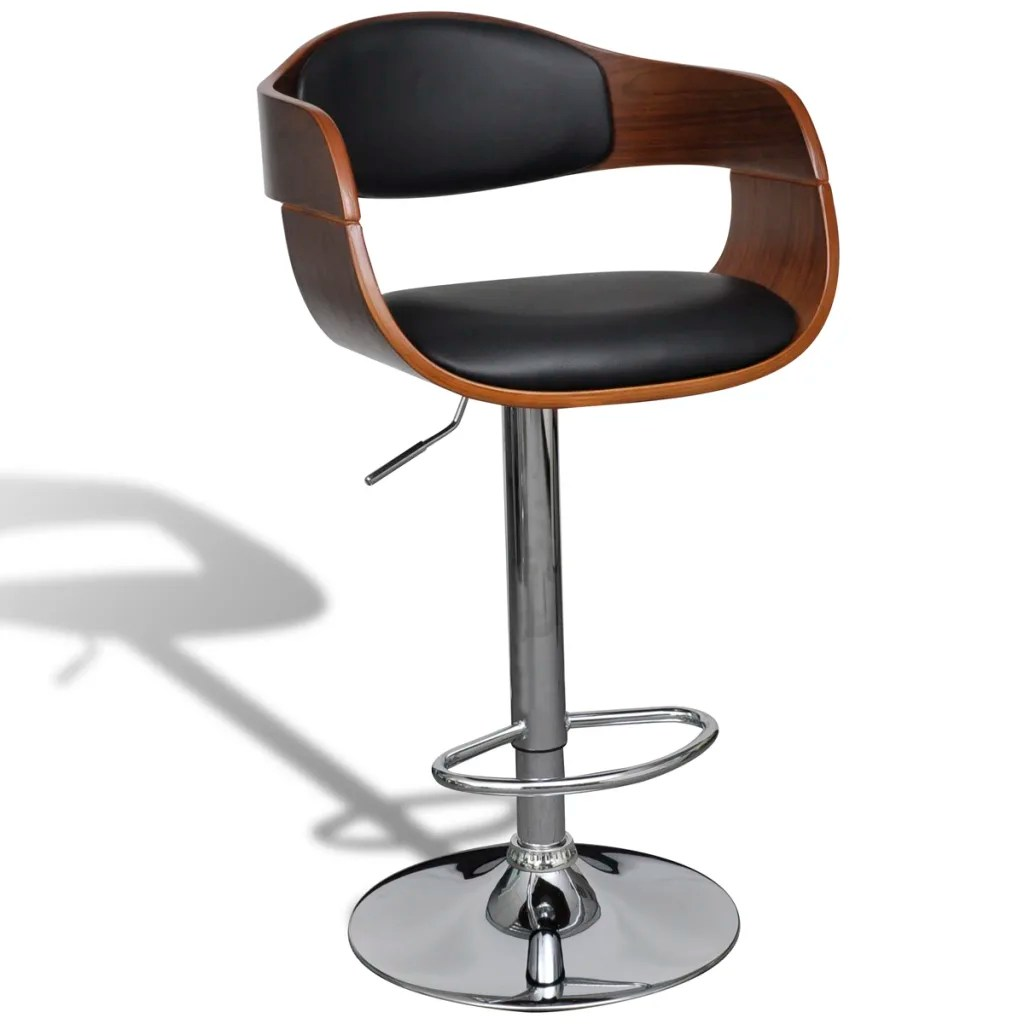Bar Stool Chair Leather Bar Stool Chair With Backrest Armrest 2 Pcs Www