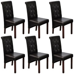 Dark Wood Dining Chairs Nailhead Side Chair 6 Pcs Artificial Leather Brown