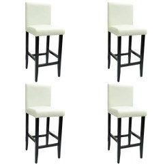 White Leather Bar Chair High Cover Etsy 4 Modern Stools Artificial Vidaxl