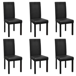 Black Dining Sets With 6 Chairs Eames Molded Plywood Chair Replica Modern Artificial Leather Wooden