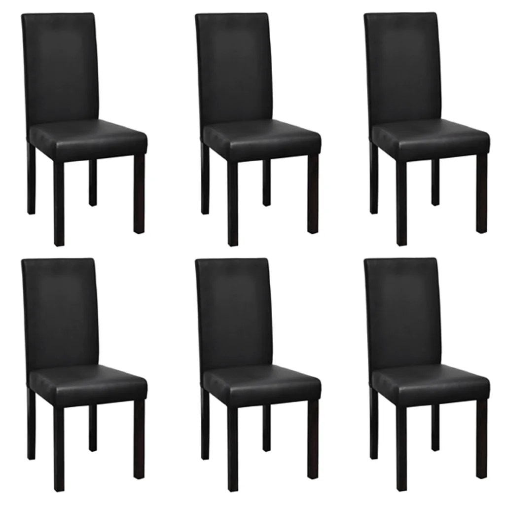 Dining Chairs Black 6 Modern Artificial Leather Wooden Dining Chairs Black