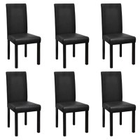 6 Modern Artificial Leather Wooden Dining Chairs Black ...