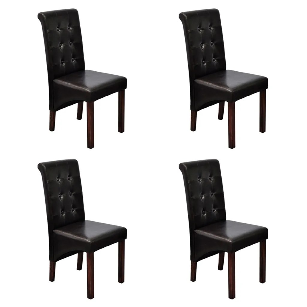 dark brown wooden dining chairs wheelchair bedroom size 4 scroll back artificial leather