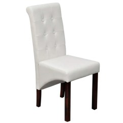 White Wooden Dining Chairs Chair Covers Party 4 Scroll Back Artificial Leather