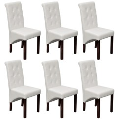 White Wooden Dining Chairs Ikea Gregor Chair 6 Scroll Back Artificial Leather