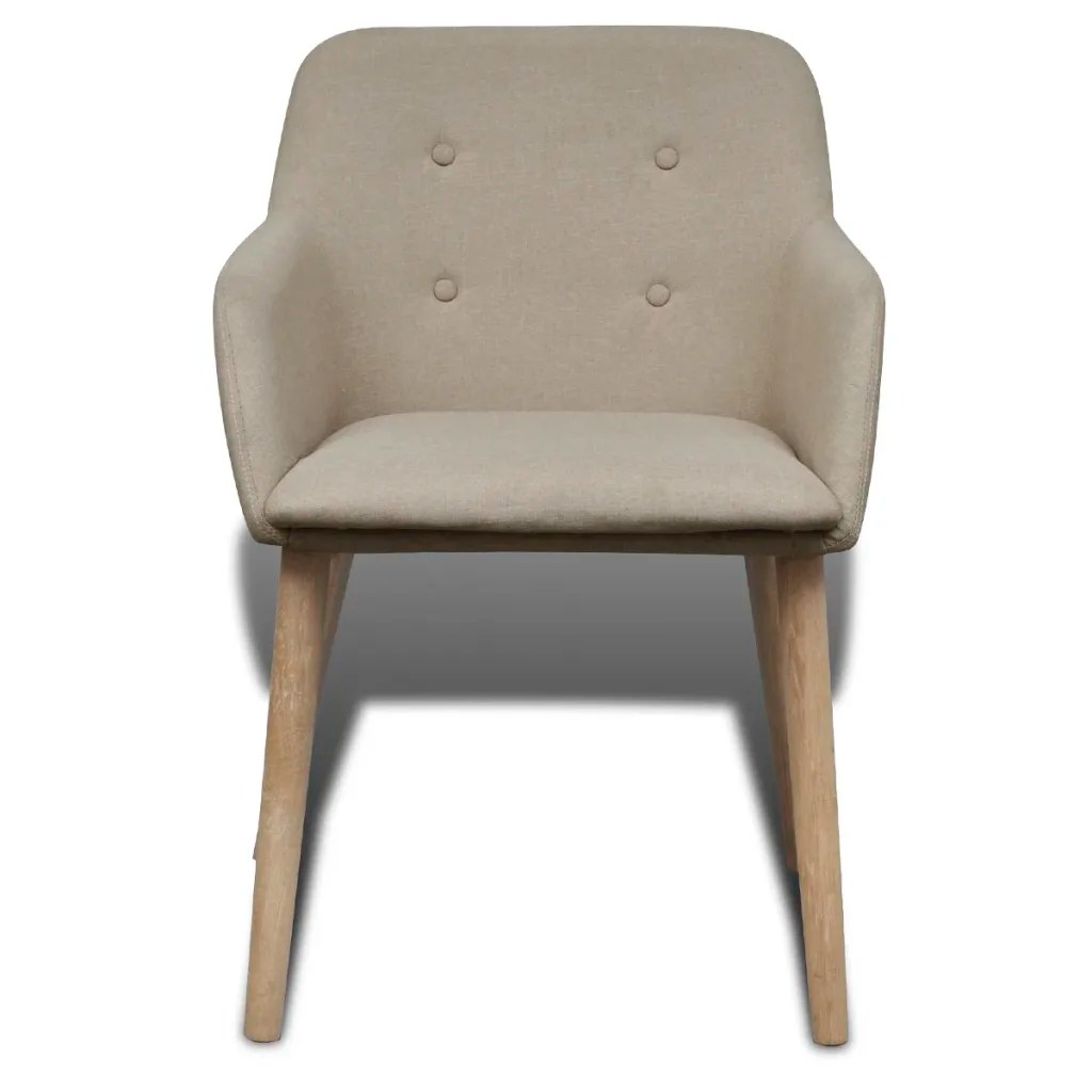 dining chair with armrest kitchen chairs casters swivel 4 fabric beige vidaxl