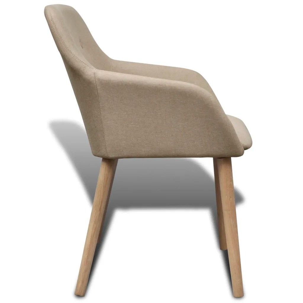 dining chair with armrest small office chairs without arms 4 fabric beige vidaxl