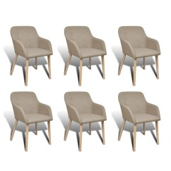 Dining Chair With Armrest Height Stools 6 Fabric Chairs Beige Vidaxl