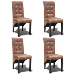 Leather Dining Chairs At Homesense 4 Artificial Vidaxl