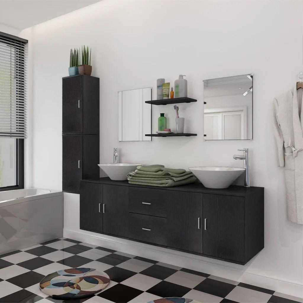Ensemble de meuble mobilier de salle de bain et lavabo vasque Noir  Beige  eBay