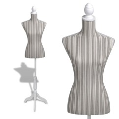 Mannequin Chair Stand Rocking And Ottoman Replacement Cushions Ladies Bust Display Linen With Stripes Vidaxl