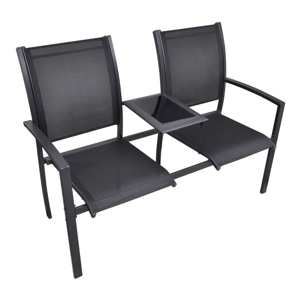 Double Seat Chair Vidaxl Co Uk Vidaxl Steel 2 Seat Chair Double Black