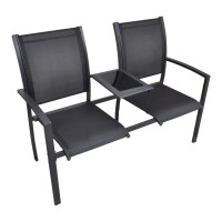 vidaXL.co.uk | vidaXL Steel 2-Seat Chair Double Black ...