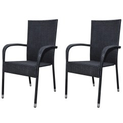 Black Rattan Chair Lounge Plastic Poly Garden Furniture 2 Pcs Dining Set