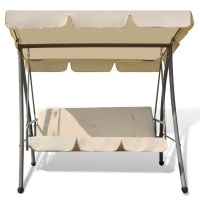 Outdoor Swing Chair / Bed with Canopy Sand White | vidaXL.com