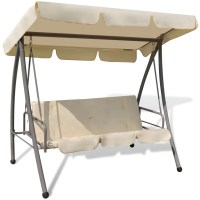 Outdoor Swing Chair / Bed with Canopy Sand White | www ...