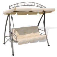 Outdoor Swing Chair / Bed Canopy Patterned Arch Sand White ...