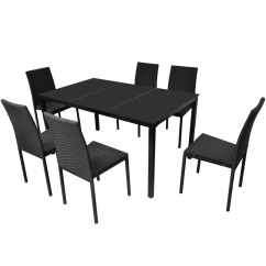 Black Dining Sets With 6 Chairs Reclining Camping Vidaxl Co Uk Rattan Table Set 1
