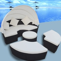 Canopy Daybed Outdoor Wicker Sun Sofa Lounge Black Suede Sets 2 In 1 Rattan Set Round Bed With