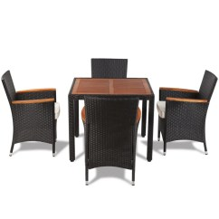 Rattan Table And Chairs Blue Velvet Arm Vidaxl Poly Garden Dining Set With 4