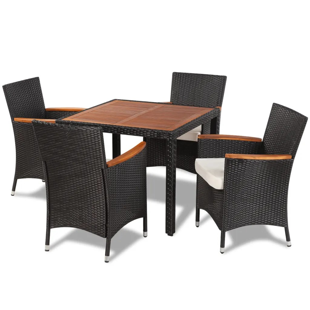 rattan garden chairs and table chair stools walmart vidaxl poly dining set with 4