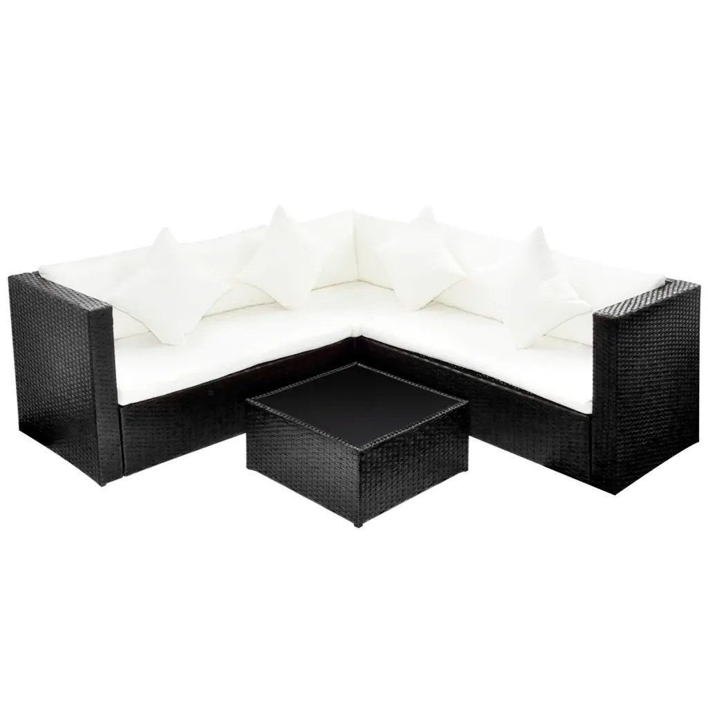 rattan 2 seater sofa cover inclinable usage black poly lounge set with two seat vidaxl