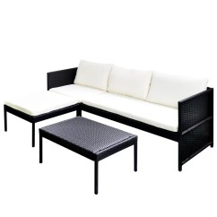 Black Outdoor Sofa Antique Table Vidaxl Poly Rattan Lounge Set Three Seat