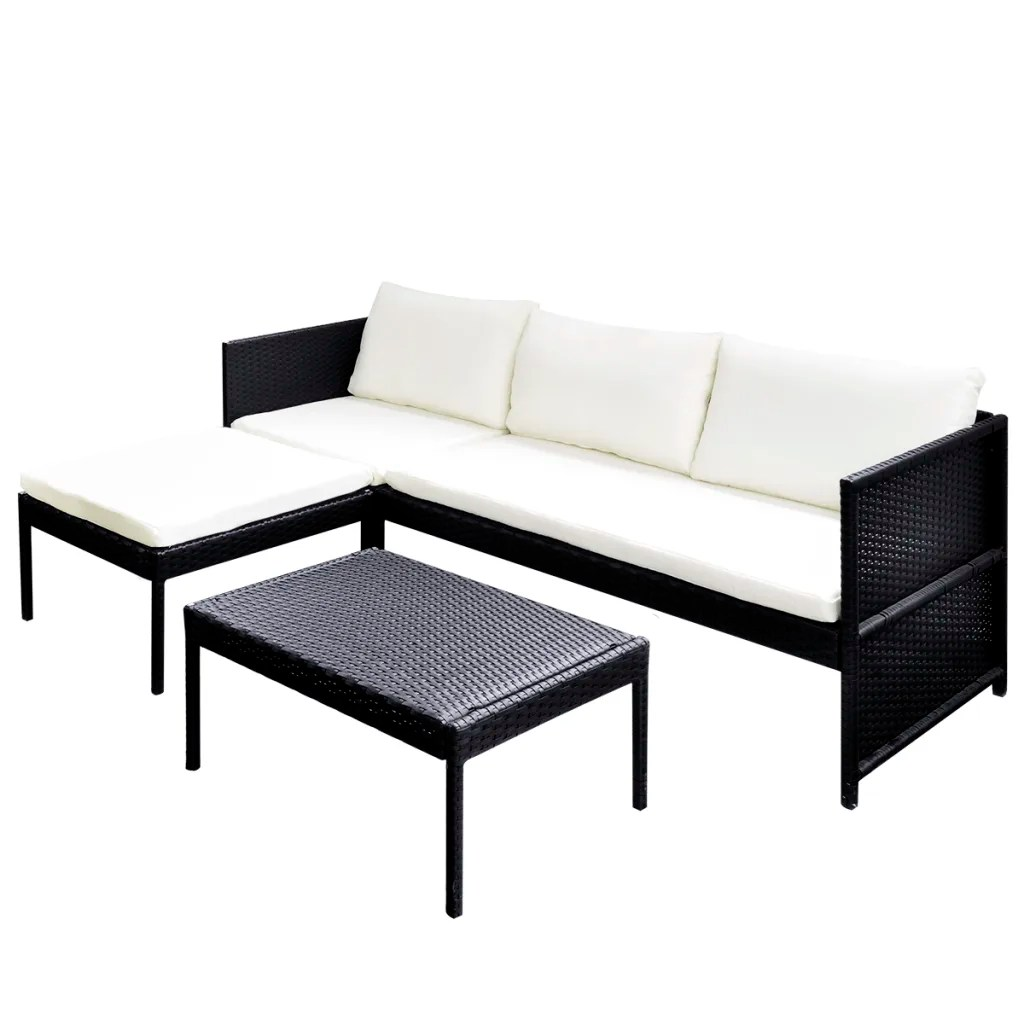 Outdoor Rattan Sofa Vidaxl Black Outdoor Poly Rattan Lounge Set Three Seat