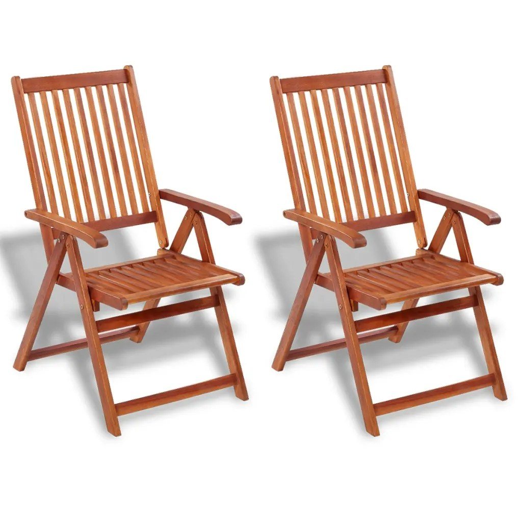 2 Wooden Folding Chairs with 5 Positions  vidaXLcom
