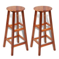 vidaXL.co.uk | 2 pcs Wooden Bar Stool Set
