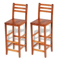 vidaXL.co.uk | 2 pcs Wooden Bar Stool Set with Backrest