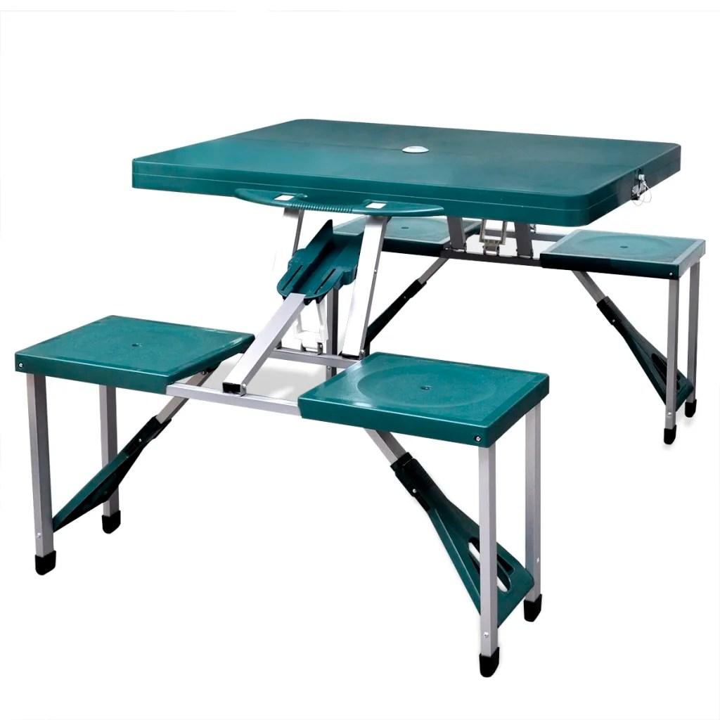 Set plegable camping 1 mesa 4 taburetes aluminio verde