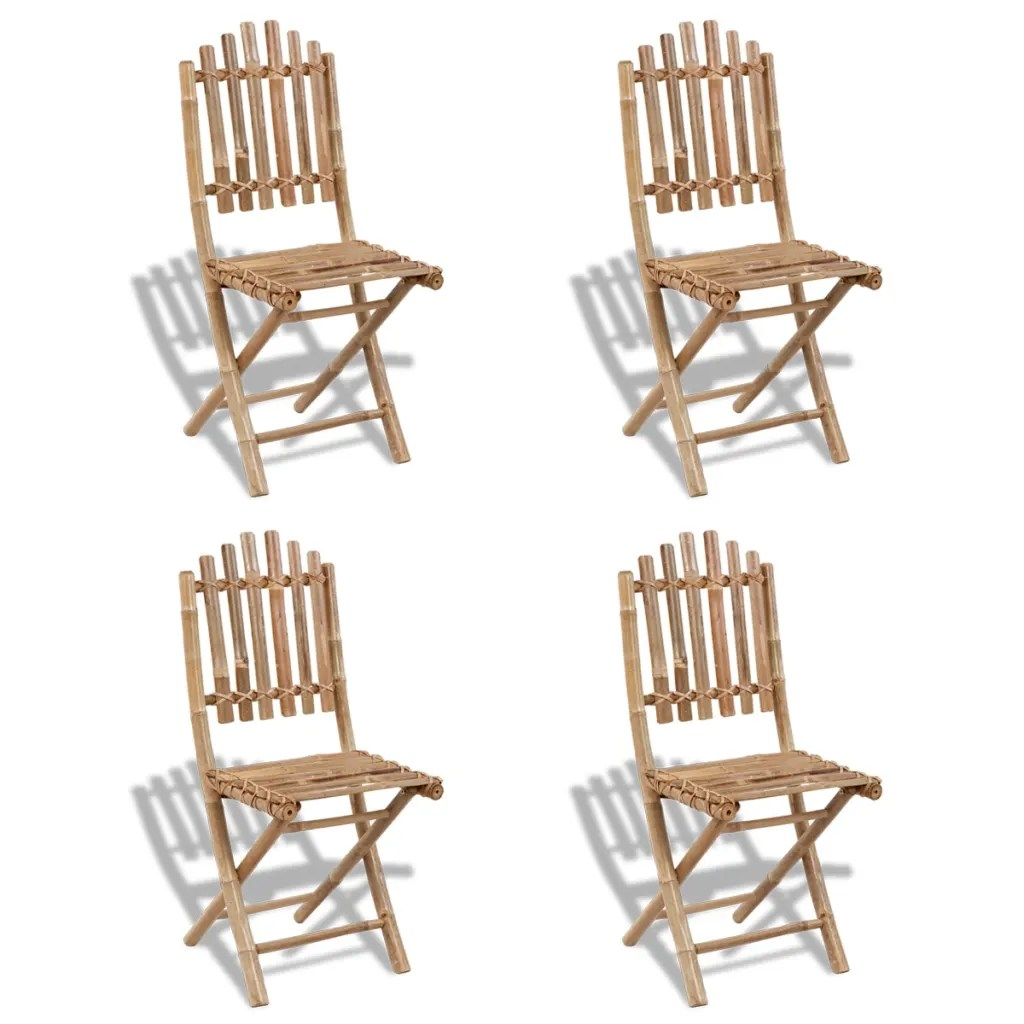 Bamboo Dining Chair Foldable Outdoor Bamboo Dining Set 1 Table 43 4 Chairs