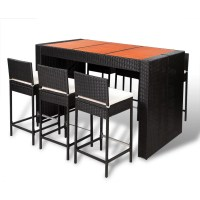 vidaXL Poly Rattan Bar Furniture Set 6 Bar Stools +1 Table ...
