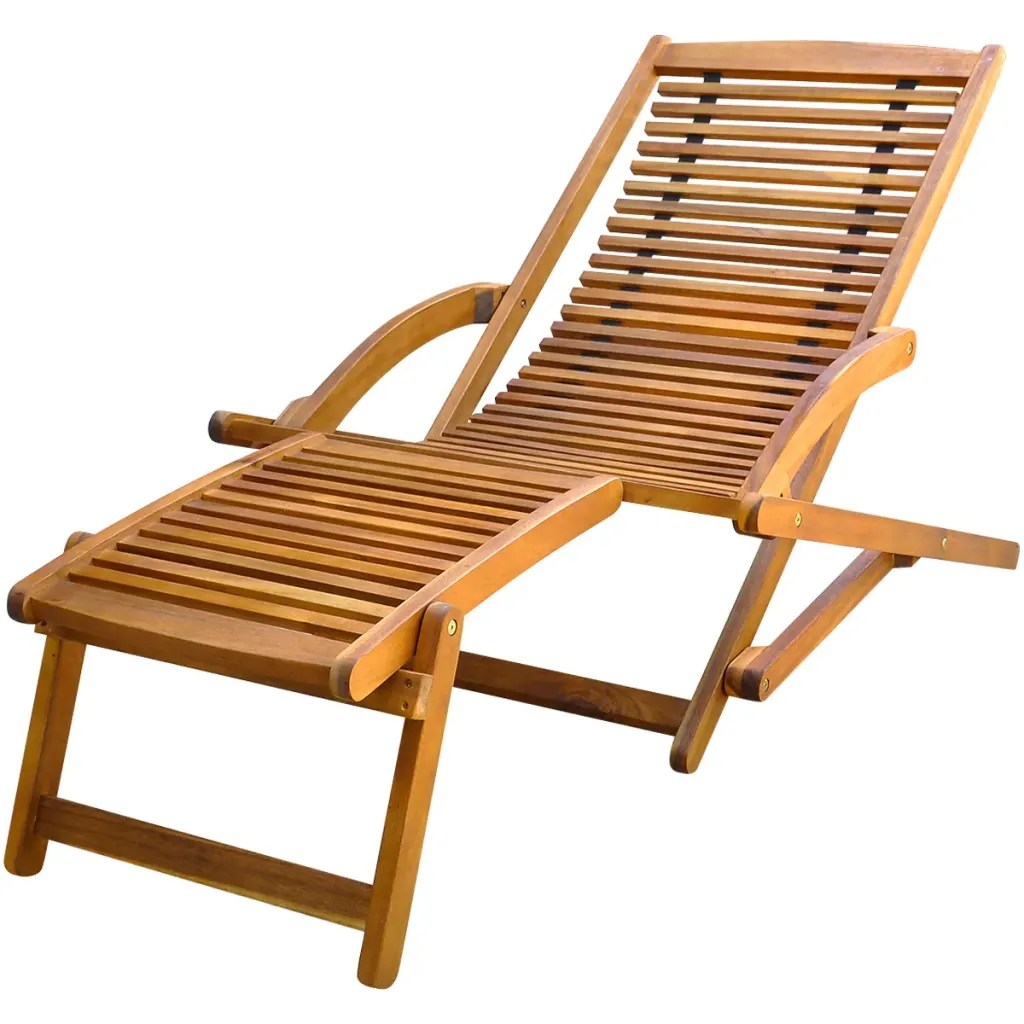 vidaXLcouk  vidaXL Deck Chair with Footrest Acacia Wood