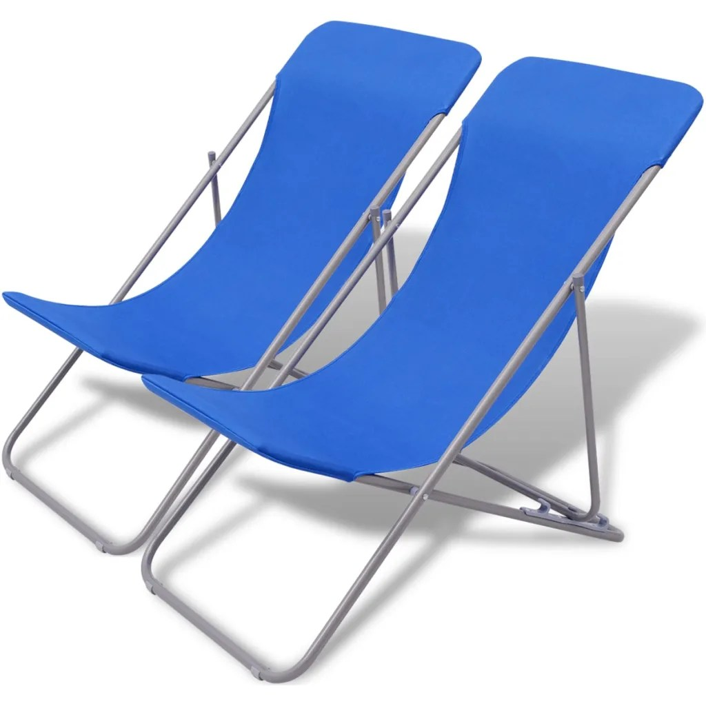 Folding Beach Chair Vidaxl Co Uk Vidaxl Folding Beach Chair 2 Pcs Blue