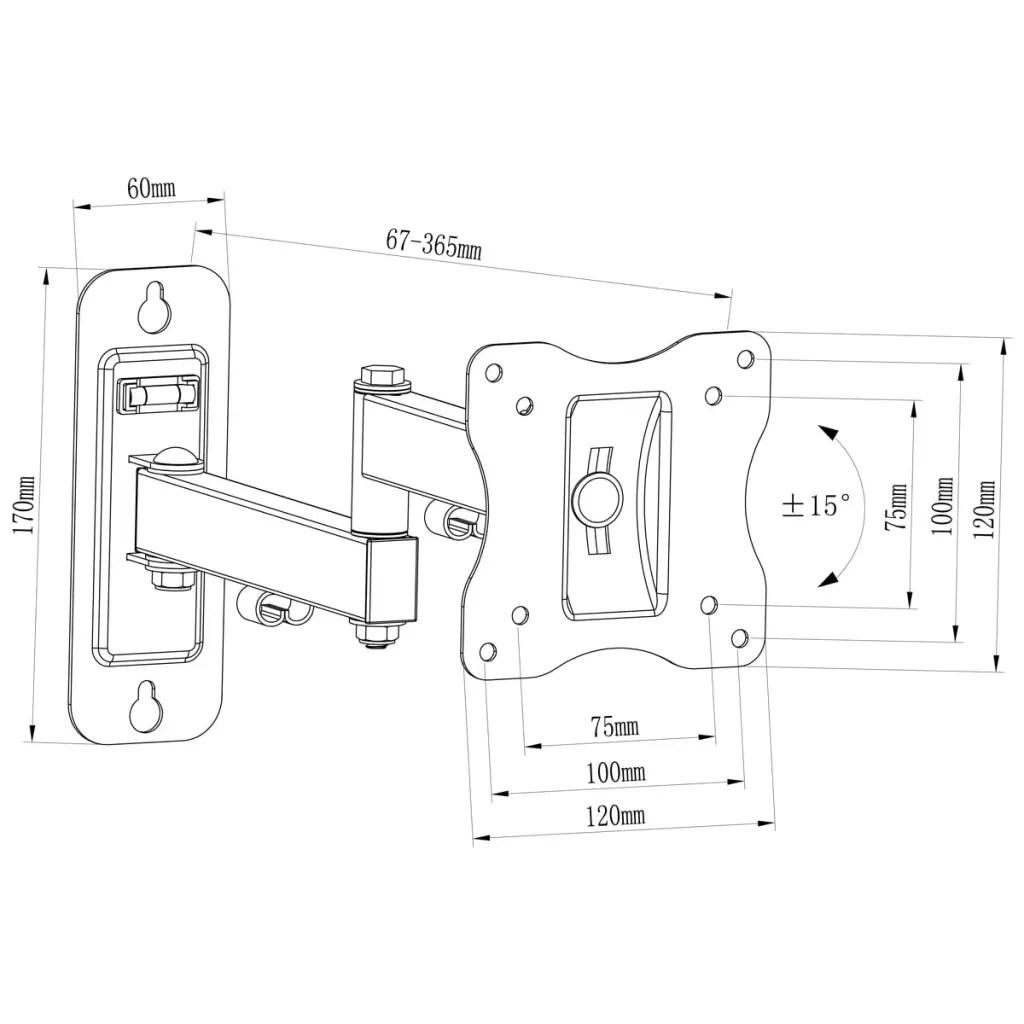 Single-arm Swivel & Tilt Wall Mount TV Bracket 4x4