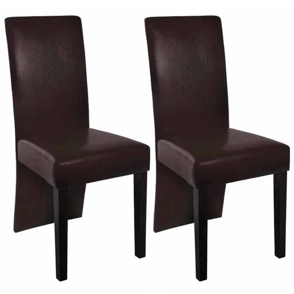leather dining chairs australia where to buy cheap 2 faux dark brown vidaxl au