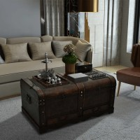 Vintage Large Wooden Treasure Chest Brown Coffee Table ...