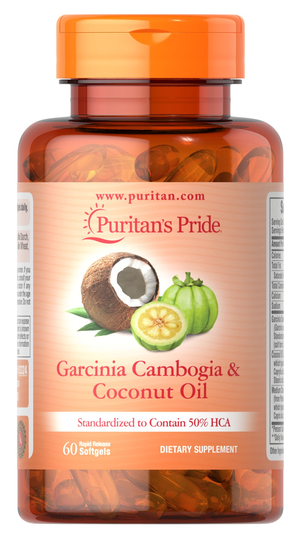 """Garcinia Cambogia 500 mg plus Coconut Oil 500mg <p>Garcinia Cambogia is related to the superfruit Mangosteen and is sometimes called tamarind, brindleberry or camboge. Garcinia Cambogia has been used in Ayurvedic practices for hundreds of years. <br /></p><p>The rind of this fruit contains the revolutionary ingredient Hydroxycitric Acid (HCA), which is considered the """"active compound"""". These capsules contain a standardized supplement to provide 500 mg of HCA per serving."""